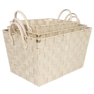 3 Piece Woven Storage Baskets- Tan