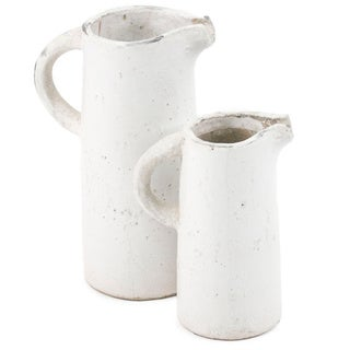 White Ceramic Pitcher with Open Spout