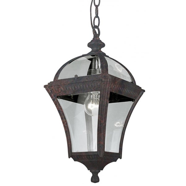 Cambridge 1-Light Black Copper 16 in. Outdoor Hanging Lantern with Beveled Glass