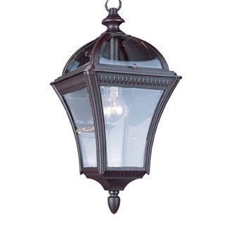 Cambridge 1-Light Rust 16 in. Outdoor Hanging Lantern with Beveled Glass