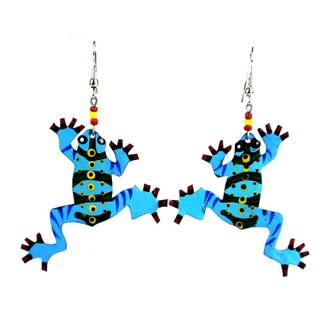 Painted Recycled Tin Frog Earrings - Takataka Collection (Kenya)
