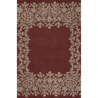 Hand-tufted Argyle Red Area Rug (2' x 3')