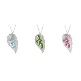 Platinum over Stering Silver Gemstone and White Zircon Angel Wing Necklace