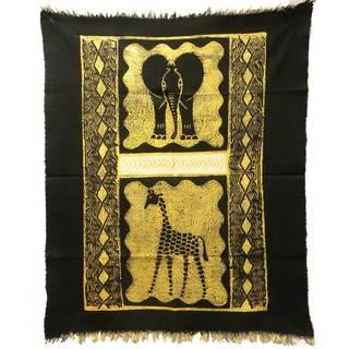 Handpainted Elephant and Giraffe Batik in Black/White (Zimbabwe)