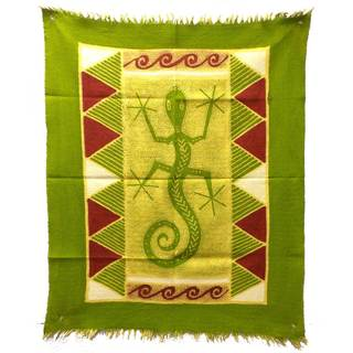 Handpainted Gecko Batik in Green/Yellow/Red (Zimbabwe)