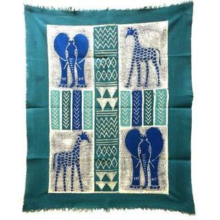 Handpainted African Quad Batik in Three Blues (Zimbabwe)