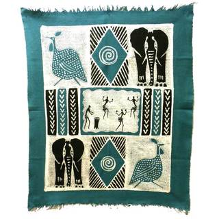 Handpainted Dancers and Animals Batik in Blue/Black (Zimbabwe)
