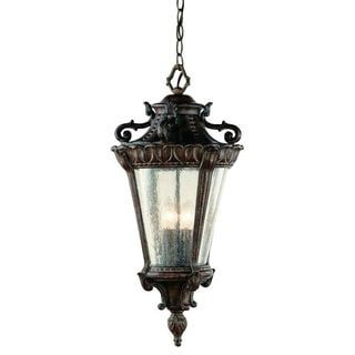 Cambridge 4-Light Patina 28.25 in. Outdoor Hanging Lantern with Seeded Glass