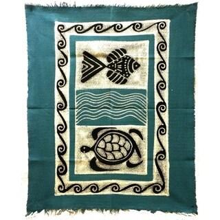 Handpainted Sea Life Batik in Blue/Black (Zimbabwe)