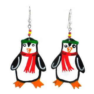 Painted Recycled Tin Penguin Earrings - Takataka Collection (Kenya)