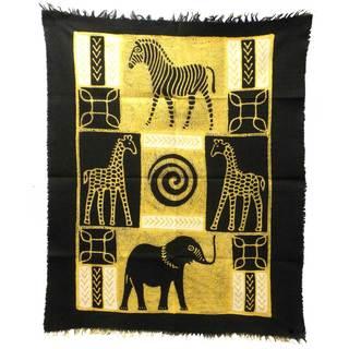 Handpainted Four Animals Batik in Black/White , Handmade in Zimbabwe