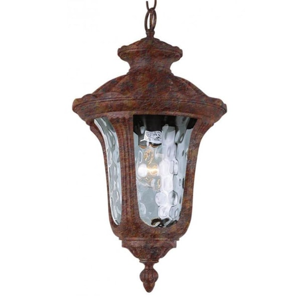 Cambridge 1-Light Rust 20 in. Outdoor Hanging Lantern with Water Glass