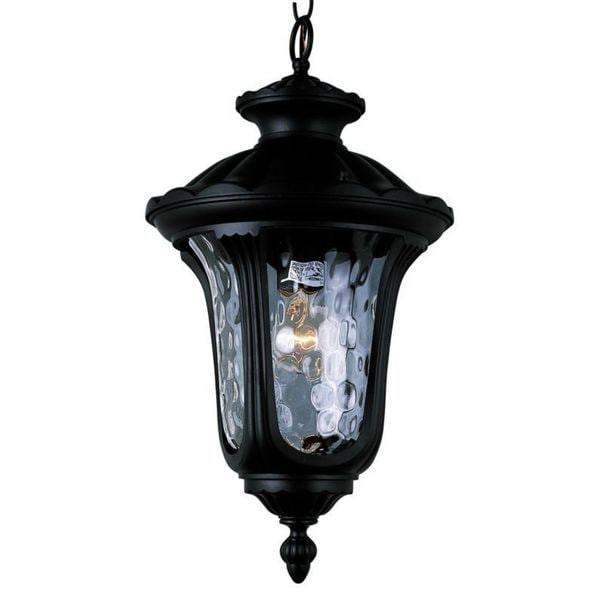 Cambridge 1-Light Black 20 in. Outdoor Hanging Lantern with Water Glass
