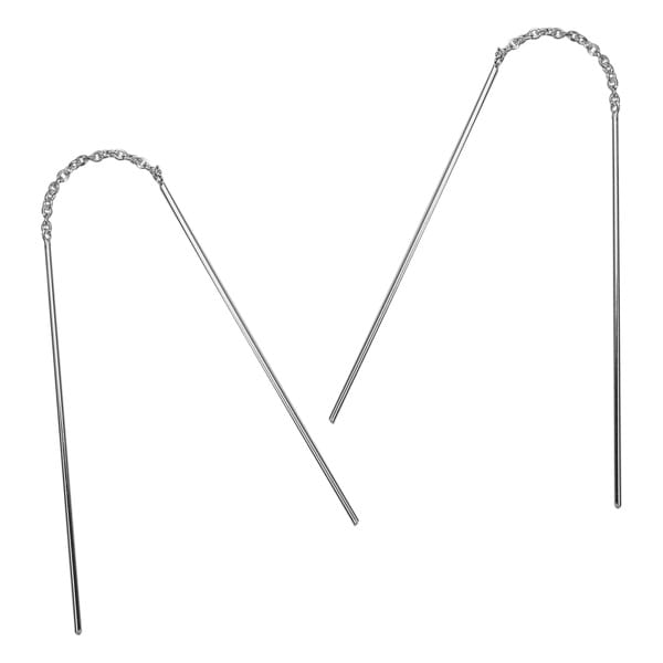 Simple Stick Ear Thread Slide Drop 925 Silver Earrings (Thailand)
