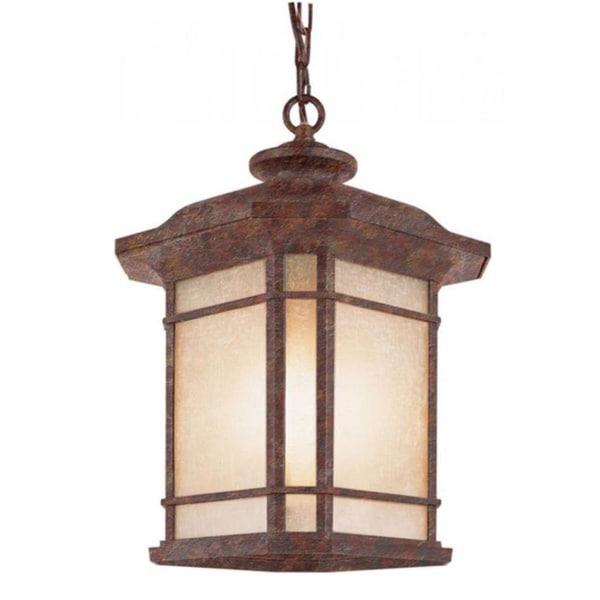 Cambridge 3-Light Rust 18.25 in. Outdoor Hanging Lantern with Tea Stain Linen 15144423