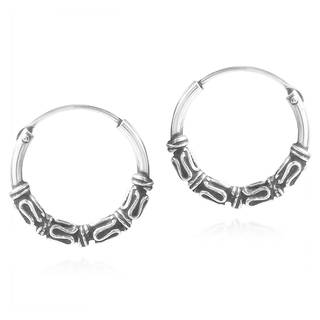 Balinese Interlace Tribal Ornate .925 Silver Hoop Earrings (Thailand)