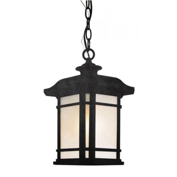 Cambridge 3-Light Black 18.25 in. Outdoor Hanging Lantern with Tea Stain Linen 15144425