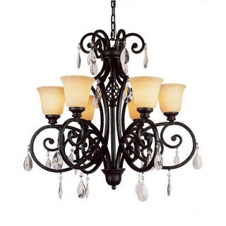 Cambridge 6-Light Dark Bronze 29.5 in. Chandelier with Beige Glass