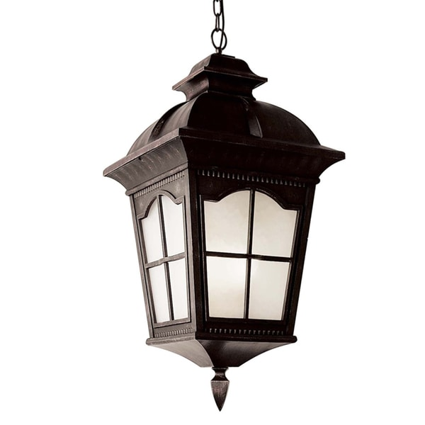 Cambridge 1-Light Antique Rust 23.75 in. Outdoor Hanging Lantern with Frosted Glass