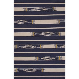 Flatweave Tribal Pattern Blue/ Ivory Area Rug (5' x 8')