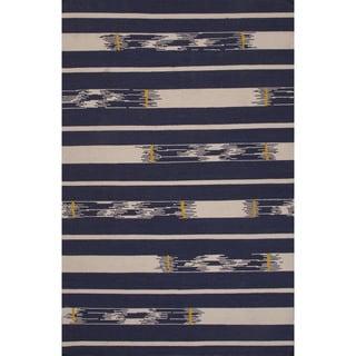 Flatweave Tribal Pattern Blue/ Ivory Area Rug (2x3)