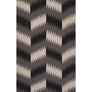 Flatweave Tribal Pattern Black/ Black Area Rug (5' x 8')