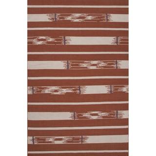 Flatweave Tribal Pattern Red/ Ivory Area Rug (2x3)