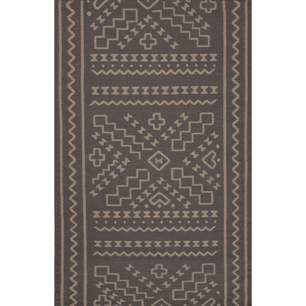 Flatweave Tribal Pattern Grey/ Grey Area Rug (2x3)