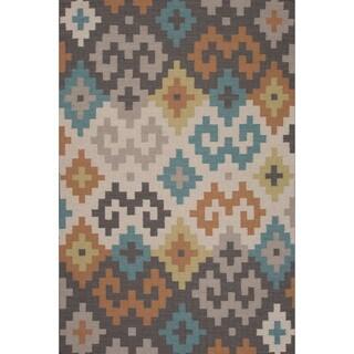Flatweave Tribal Pattern Grey/ Ivory Area Rug (8x11)