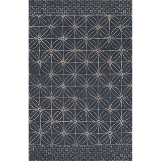 Hand-tufted Tribal Pattern Blue/ Blue Area Rug (8x11)