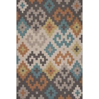 Flatweave Tribal Pattern Grey/ Ivory Area Rug (2x3)
