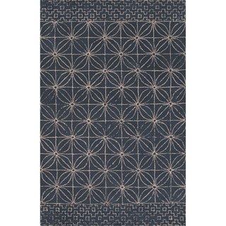Hand-tufted Tribal Pattern Blue/ Blue Area Rug (2x3)