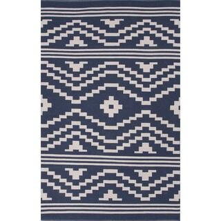 Flatweave Argyle Pattern Blue/ Ivory Area Rug (2' x 3')