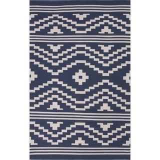 Flatweave Argyle Pattern Blue/ Ivory Area Rug (8' x 11')