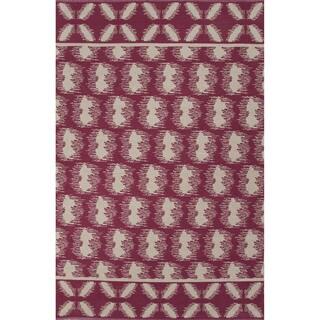Flatweave Argyle Pattern Pink/ Ivory Area Rug (2' x 3')