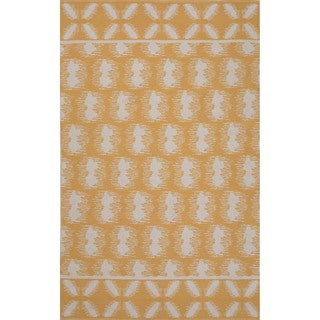 Flatweave Argyle Pattern Yellow/ Ivory Area Rug (5' x 8')