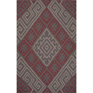 Flatweave Argyle Pattern Pink/ Red Area Rug (8' x 11')