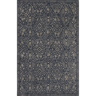 Hand-tufted Argyle Pattern Blue Rug (2' x 3')