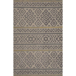 Hand-tufted Argyle Grey Area Rug (8' x 11')