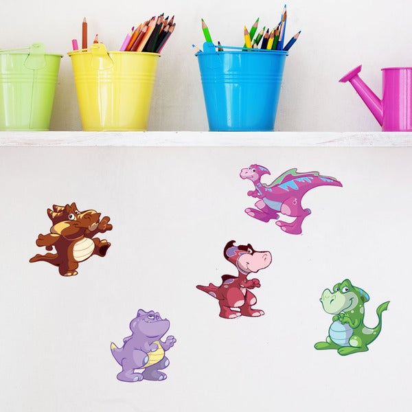 Colorful Baby Dinosaur III Vinyl Decal Set