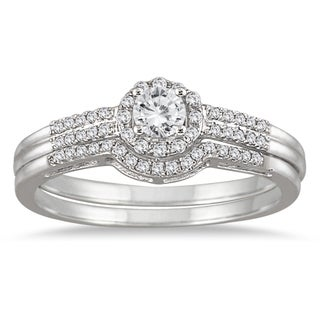 Marquee Jewels 10k White Gold 1/2ct TDW Diamond Halo Bridal Set (I-J, I1-I2)