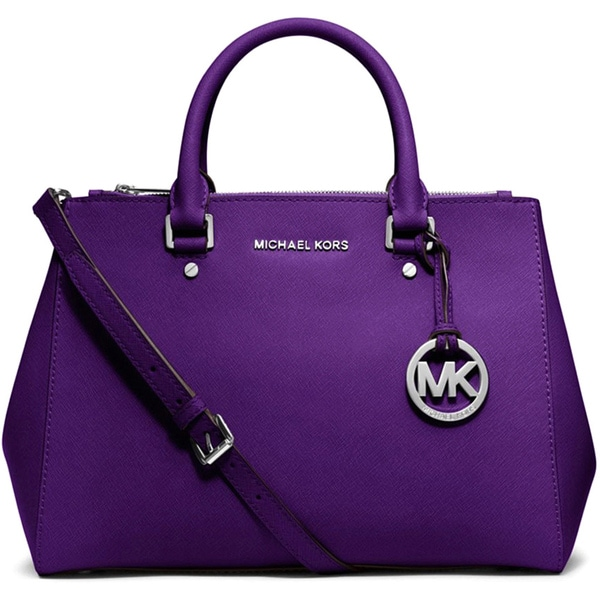 Michael Kors Sutton Medium Grape Leather Satchel