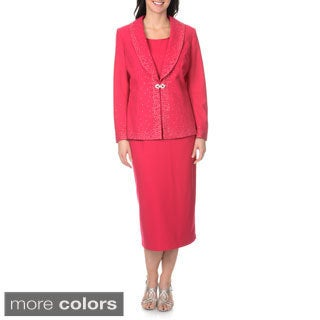 Mia-Knits Collections Women's Crystal Brooch Accent 3-piece Skirt Suit