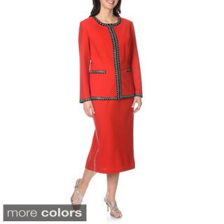 Mia-Knits Collections Women's Zig Zag Rhinestone Trim Skirt Suit