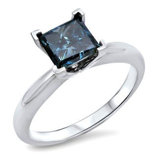 14k White Gold 3/4ct Blue Diamond Solitaire Engagement Ring (SI1-SI2)