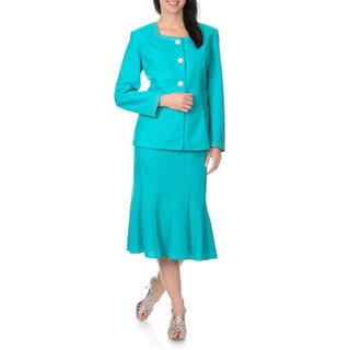 Mia-Knits Collections Women's Rhinestone Trim Skirt Suit