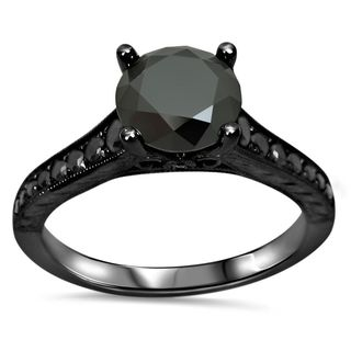 14k Black Gold 1 1/3ct TDW Black Diamond Engagement Ring