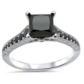 14k White Gold 1 1/3ct TDW Black Princess Diamond Engagement Ring