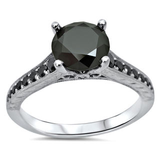 14k White Gold 1 1/3ct TDW Black Round Diamond Engagement Ring