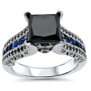 Noori 14k White Gold 2ct TDW Certified Black Diamond and Blue Sapphire Engagement Ring